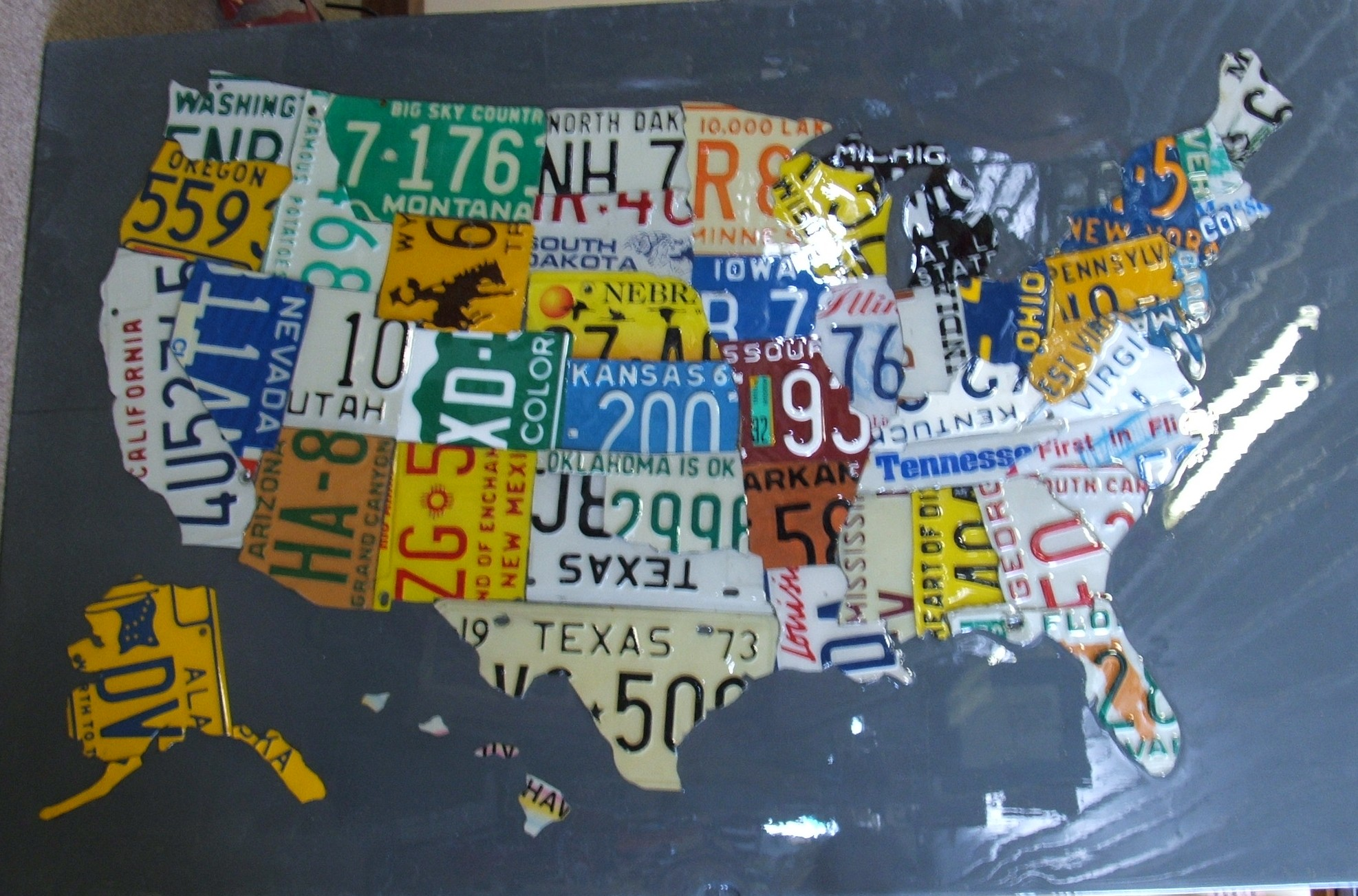 Large License Plate Map Of The United States 48 X United States